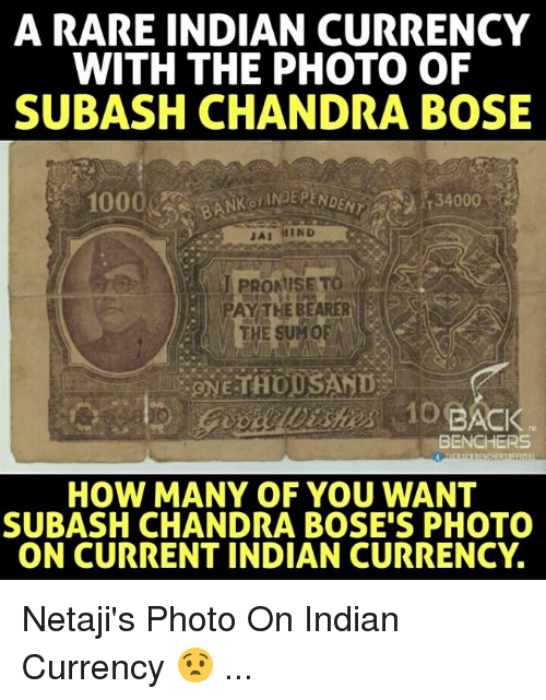 Memes, Indian, and 🤖: A RARE INDIAN CURRENCY  WITH THE PHOTO OF  SUBASH CHANDRA BOSE  JAI HIND  PAY THE BEARER  THE SUMOFA  BENCHERS  HOW MANY OF YOU WANT  SUBASH CHANDRA BOSE'S PHOTO  ON CURRENT INDIAN CURRENCY. Netaji's Photo On Indian Currency 😧 ...