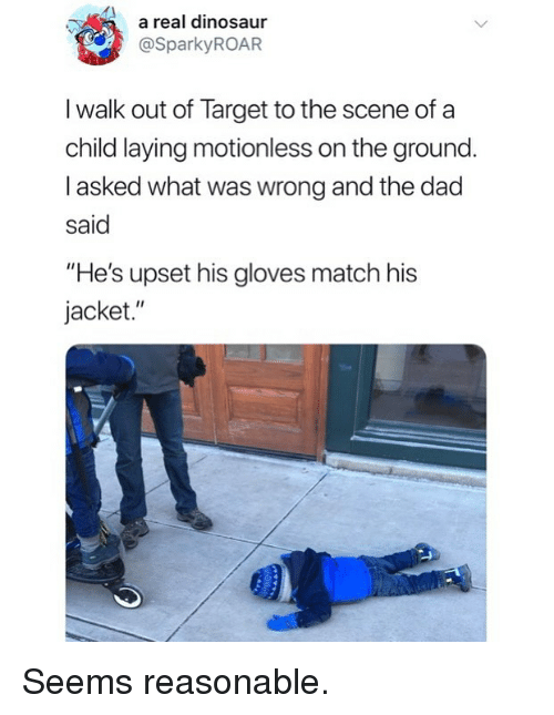 "Dad, Dinosaur, and Funny: a real dinosaur  @SparkyROAR  I walk out of Target to the scene of a  child laying motionless on the ground  I asked what was wrong and the dad  said  ""He's upset his gloves match his  jacket."" Seems reasonable."
