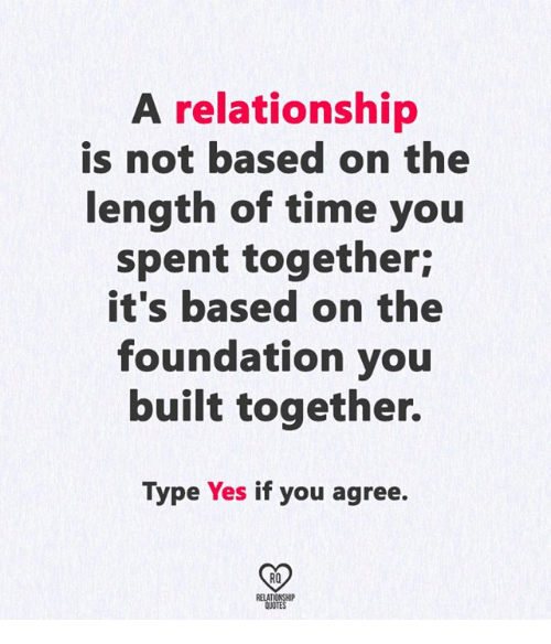 Memes, Quotes, and Time: A relationship  is not based on the  length of time you  spent together;  it's based on the  foundation you  built together.  Type Yes if you agree.  02  RO  RELATIONSHIP  QUOTES