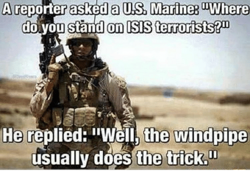 """Doe, Memes, and 🤖: A reporter asked a US. Marine3 Where  do you stand on ISS terrorists?  He replied: """"Well, the windpipe  usually does the trick."""