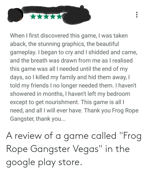 """frog: A review of a game called """"Frog Rope Gangster Vegas"""" in the google play store."""
