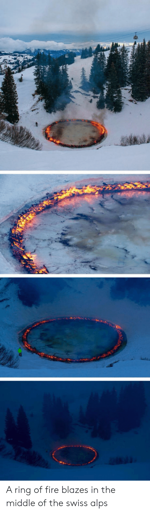 ring of fire: A ring of fire blazes in the middle of the swiss alps