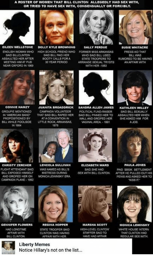 Monica Lewinsky: A ROSTER OF WOMEN THAT BILL CLINTON ALLEGEDLY HAD SEX WITH,  OR TRIED TO HAVE SEX WITH, CONSENSUALLY OR FORCIBLY  EILEEN WELLSTONE  DOLLY KYLE B  NG  SALLY PERDUE  SUSIE WHITACRE  ENGLISH WOMAN WHO HIGH SCHOOL FRIEND WHO FORMER MSS ARKANSAS  PRESS AND THAT  SAID BILLCLINTON  SAID BILL PAD HER  WHO SAID BILL USED  BILL WAS  ASSAULTED HERAFTER  BOOTY CALLS FORA  STATE TROOPERS TO  D TO BE HAVING  MEETING HIM AT PUB  30 YEAR PERIOD  ARRANGE SEXUAL TRYSTS  AN AFFAIR WITH  NEAR OXFORD IN 1969  WITH HER-1983  CONNIE  HAMZY  JUANITA BROADDRICK  SANDRA ALLEN JAMES  KATHLEEN WILLEY  GROUPE MENTIONED  CAMPAIGN VOLUNTEER  POLITICAL FUND RAISER  SAID BILL SEXUAL  AMERICAN BAND  THAT SAD BILL RAPEDHER  SAID BILL PINNED HER TO  ASSAUTED HER WHEN  ED BY  ATA  WALL AND GROPED HER  SHE ASKED HIM FOR  BILL WHILEPOOLSIDE  LITTLE ROCK, ARKANSAS.  VAGINALAREA.-1991  A JOB  1978  LENCOLA SULLIVAN  PAULA JONES  CHRISTY ZERCHER  ELIZABETH WARD  FLIGHT ATTENDANT SAID  WASNAMEDAS BILLS  SAID SHE HAD  PAID $850K SETTLEMENT  BILL EXPOSED HIMSELF  MISTRESS DURING  SEX WITH BILL CLINTON.  AFTER HE PULLED OUT HIS  AND GROPED HERON  MONCALEWINSKYERA.  PENISANDASKED HER TO  CAMPAGN PLANE 1992  KISS IT  REGINA HOPPER  GENNIFER FLOWERS  MARSHA SCOTT  MONICA LEWINSKY  HAD LONGTIME  HIGH LEVEL CLINTON  WHITE HOUSE INTERN  STATE TROOPER SAD  AFFAIR WITH  STAFFER SAID TO  THAT CUNTON HAD  CLINTON WAS HAMING  BILL CLINTON  AFFAIR WITH HER  HAVE HAD AFFAIR  REGULAR SEX WITH  Liberty Memes  Notice Hillary's not on the list...