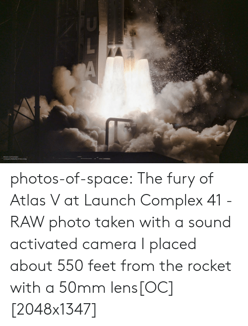 fury: A  RYAN CHYLINSKI  COSMICPERSPECTIVE.COM photos-of-space:  The fury of Atlas V at Launch Complex 41 - RAW photo taken with a sound activated camera I placed about 550 feet from the rocket with a 50mm lens[OC][2048x1347]