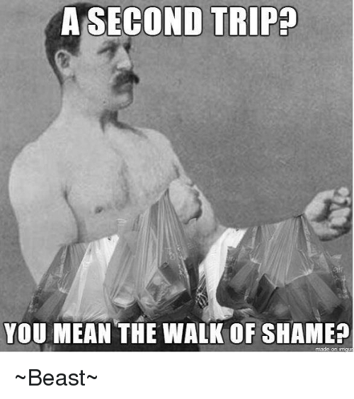 Memes, Mean, and Meaning: A SECOND TRIP  YOU MEAN THE WALK OF SHAME?  made on ~Beast~