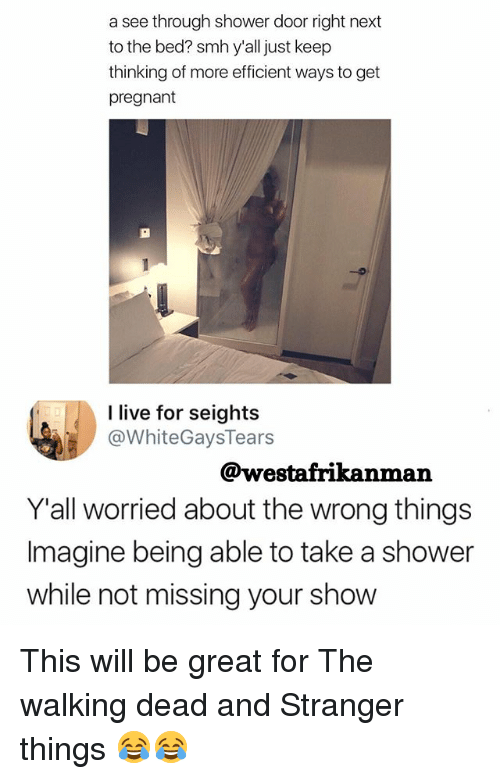 Memes, Pregnant, and Shower: a see through shower door right next  to the bed? smh y'all just keep  thinking of more efficient ways to get  pregnant  I live for seights  @WhiteGaysTears  @westafrikanman  Y'all worried about the wrong things  Imagine being able to take a shower  while not missing your show This will be great for The walking dead and Stranger things 😂😂