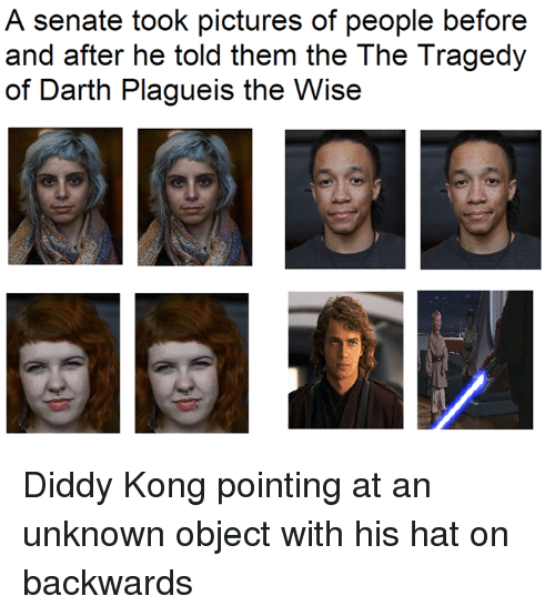 Star Wars, Diddy Kong, and Pictures: A senate took pictures of people before  and after he told them the The Tragedy  of Darth Plagueis the Wise Diddy Kong pointing at an unknown object with his hat on backwards
