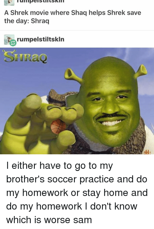 save-the-day: A Shrek movie where Shaq helps Shrek save  the day: Shraq  rumpelstiltskln  SIR I either have to go to my brother's soccer practice and do my homework or stay home and do my homework I don't know which is worse ≪sam≫