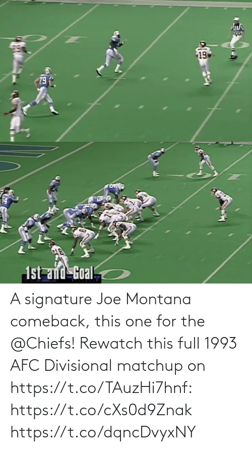 Joe Montana: A signature Joe Montana comeback, this one for the @Chiefs!  Rewatch this full 1993 AFC Divisional matchup on https://t.co/TAuzHi7hnf: https://t.co/cXs0d9Znak https://t.co/dqncDvyxNY
