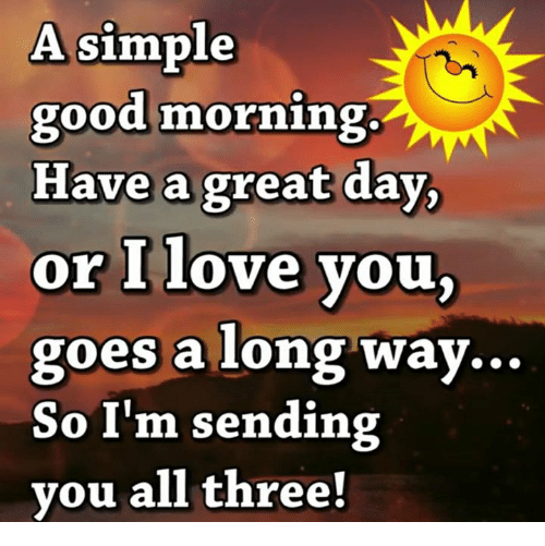 Good Morning Love Memes : A simple good morning have great day or i love you goes