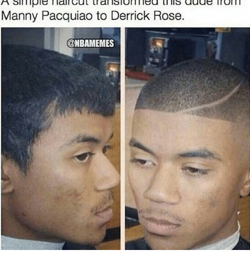Derrick Rose, Manny Pacquiao, and Memes: A simple main Cut tral Blom lea this adas inom  Manny Pacquiao to Derrick Rose.  @NBAMEMES