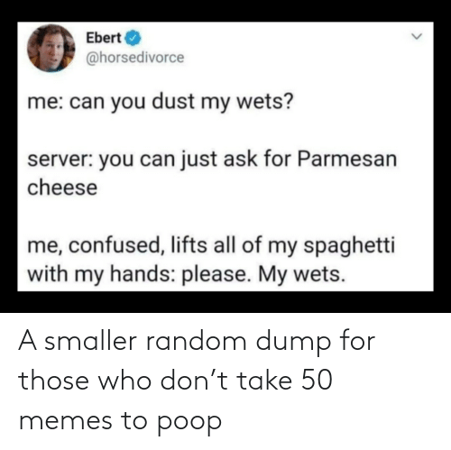 Poop: A smaller random dump for those who don't take 50 memes to poop