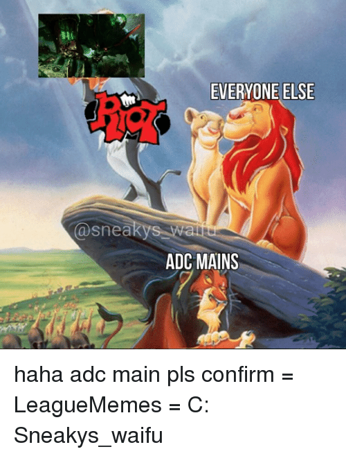 Sneakiness: (a snea  EVERYONE ELSE  ADC MAINS haha adc main pls confirm  = LeagueMemes =  C: Sneakys_waifu