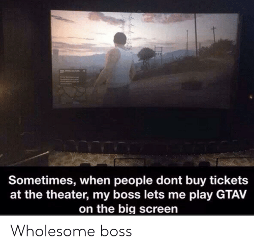tickets: a  Sometimes, when people dont buy tickets  at the theater, my boss lets me play GTAV  on the big screen Wholesome boss