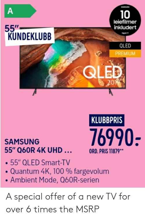 New Tv: A special offer of a new TV for over 6 times the MSRP