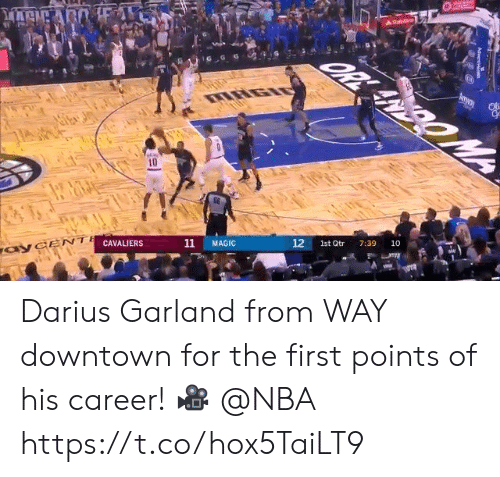downtown: A Stale  OR ANDOM  mway  IRGIO  10  10  12  7:39  1st Qtr  11  MAGIC  CAVALIERS  ayCENT  Advent Darius Garland from WAY downtown for the first points of his career!  🎥 @NBA https://t.co/hox5TaiLT9
