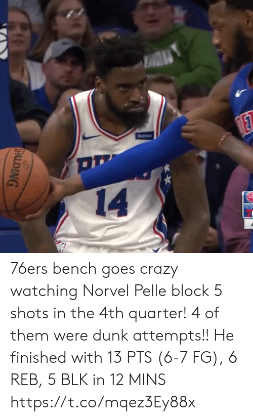 Philadelphia 76ers: A  Stu  ET  14  PALDING 76ers bench goes crazy watching Norvel Pelle block 5 shots in the 4th quarter! 4 of them were dunk attempts!!  He finished with 13 PTS (6-7 FG), 6 REB, 5 BLK in 12 MINS  https://t.co/mqez3Ey88x