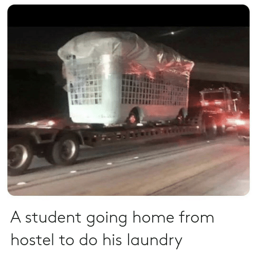 going home: A student going home from hostel to do his laundry