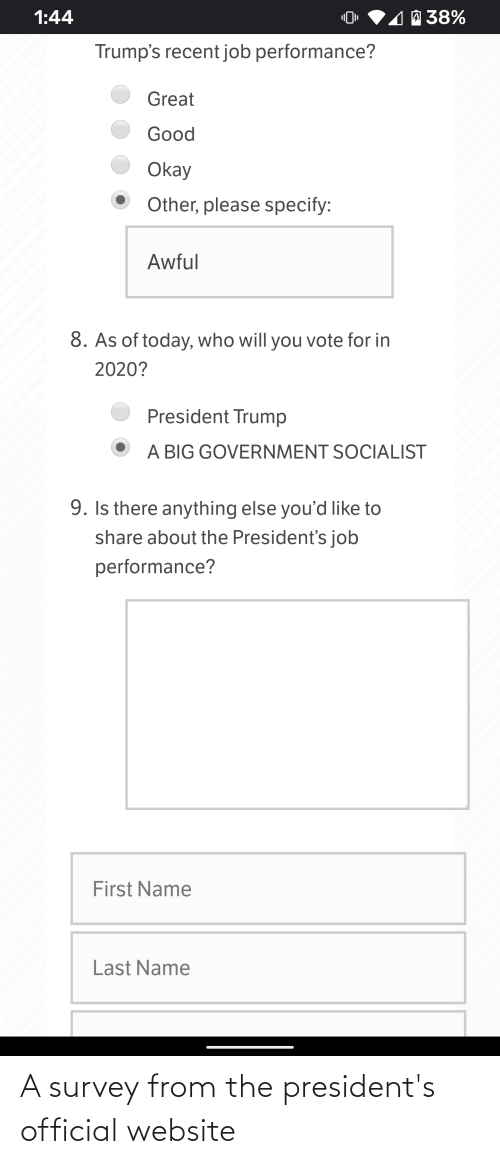 Presidents: A survey from the president's official website