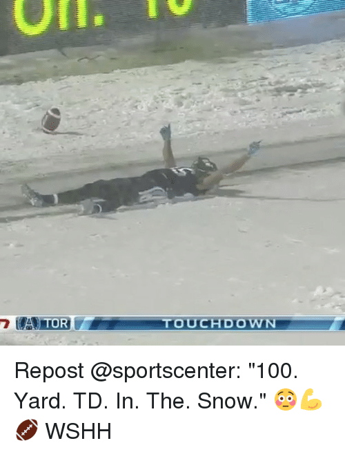 """Anaconda, Memes, and SportsCenter: A T  OR  TOUCHDOWN Repost @sportscenter: """"100. Yard. TD. In. The. Snow."""" 😳💪🏈 WSHH"""