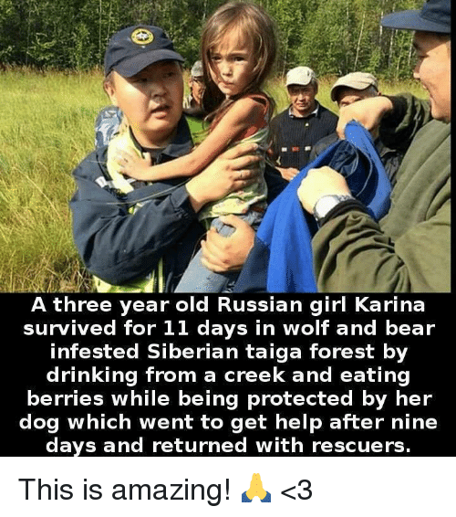 Russian Girl: A three year old Russian girl Karina  survived for 11 days in wolf and bear  infested Siberian taiga forest by  drinking from a creek and eating  berries while being protected by her  dog which went to get help after nine  days and returned with rescuers. This is amazing! 🙏 <3