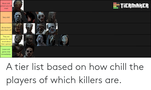 Chill: A tier list based on how chill the players of which killers are.