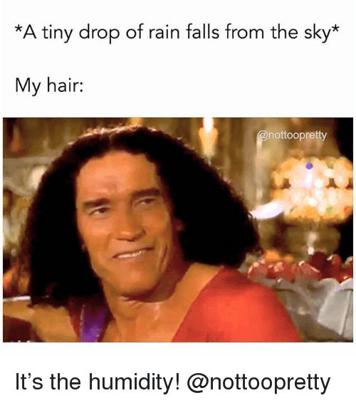 Hair, Rain, and Girl Memes: *A tiny drop of rain falls from the sky*  My hair:  nottoopretty It's the humidity! @nottoopretty