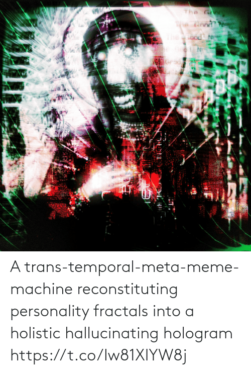 Into: A trans-temporal-meta-meme-machine reconstituting personality fractals into a holistic hallucinating hologram https://t.co/Iw81XIYW8j
