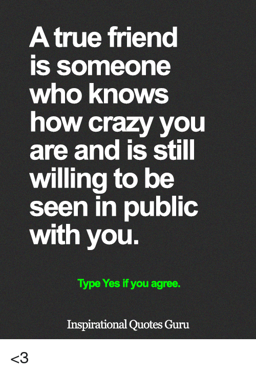 Crazy, Memes, and True: A true friend  is someone  who knows  how crazy you  are and is still  willing to be  seen in public  with you  Type Yes if you agree.  Inspirational Quotes Guru <3