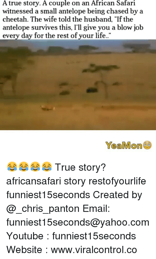 "Funny, Life, and True: A true story. A couple on an African Safari  witnessed a small antelope being chased by a  cheetah. The wife told the husband, ""If the  antelope survives this, I'll give you a blow job  every day for the rest of your life.  Yea Mon 😂😂😂😂 True story? africansafari story restofyourlife funniest15seconds Created by @_chris_panton Email: funniest15seconds@yahoo.com Youtube : funniest15seconds Website : www.viralcontrol.co"