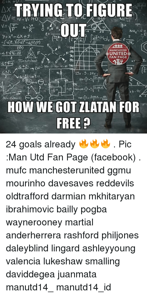 Bailey Jay, Facebook, and Goals: A TRYING TO FIGURE  AM  VA Vi HO  OUT  HEN H  NH  MANCHESTER  G-20  UNITED  FAN PAGE  200  15x 5. 14x  A  HOW WE GOT ZLATAN FOR  FREE 24 goals already 🔥🔥🔥 . Pic :Man Utd Fan Page (facebook) . mufc manchesterunited ggmu mourinho davesaves reddevils oldtrafford darmian mkhitaryan ibrahimovic bailly pogba waynerooney martial anderherrera rashford philjones daleyblind lingard ashleyyoung valencia lukeshaw smalling daviddegea juanmata manutd14_ manutd14_id