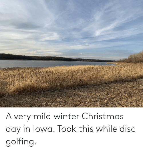 Golfing: A very mild winter Christmas day in Iowa. Took this while disc golfing.