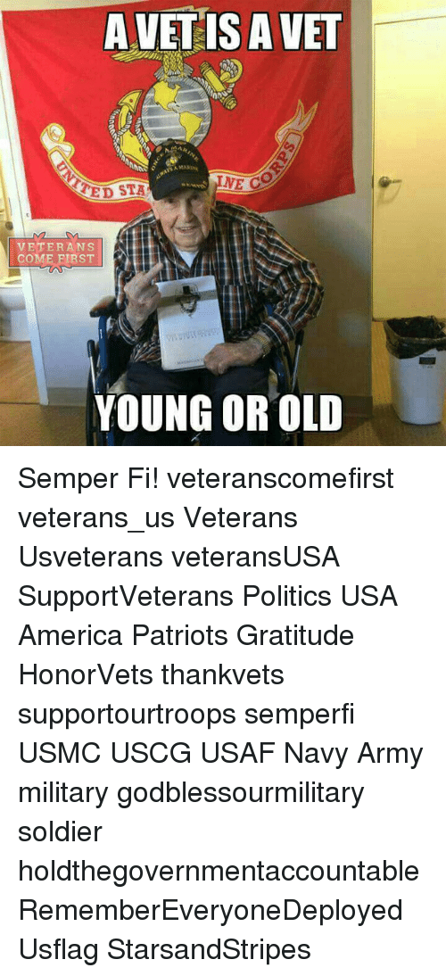 semper fi: A VET IS A VET  MARINA  NE CO  TED STA  VETERANS  COME FIRST  YOUNG OR OLD Semper Fi! veteranscomefirst veterans_us Veterans Usveterans veteransUSA SupportVeterans Politics USA America Patriots Gratitude HonorVets thankvets supportourtroops semperfi USMC USCG USAF Navy Army military godblessourmilitary soldier holdthegovernmentaccountable RememberEveryoneDeployed Usflag StarsandStripes