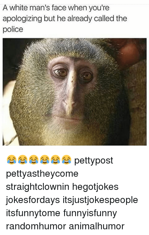 Memes, 🤖, and The Police: A white man's face when you're  apologizing but he already called the  police 😂😂😂😂😂😂 pettypost pettyastheycome straightclownin hegotjokes jokesfordays itsjustjokespeople itsfunnytome funnyisfunny randomhumor animalhumor