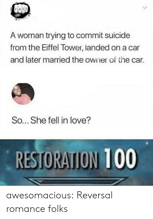 Restoration: A woman trying to commit suicide  from the Eiffel Tower, landed on a car  and later married the owner of the car.  So... She fell in love?  RESTORATION 100 awesomacious:  Reversal romance folks