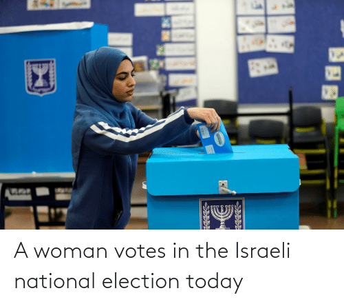 Israeli: A woman votes in the Israeli national election today