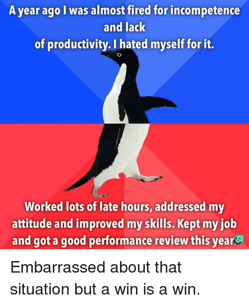 incompetence: A year ago I was almost fired for incompetence  and lack  of productivity. I hated myself for it.  Worked lots of late hours, addressed my  attitude and improved my skills. Kept my iob  and got a good performance review this year Embarrassed about that situation but a win is a win.