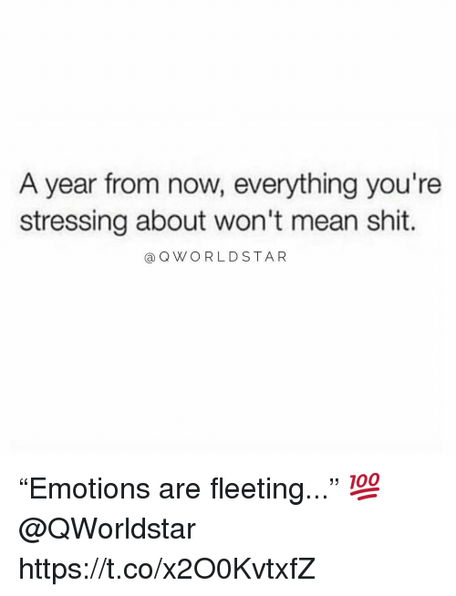 """Shit, Mean, and Now: A year from now, everything you're  stressing about won't mean shit.  a QWORLDSTAR """"Emotions are fleeting..."""" 💯 @QWorldstar https://t.co/x2O0KvtxfZ"""