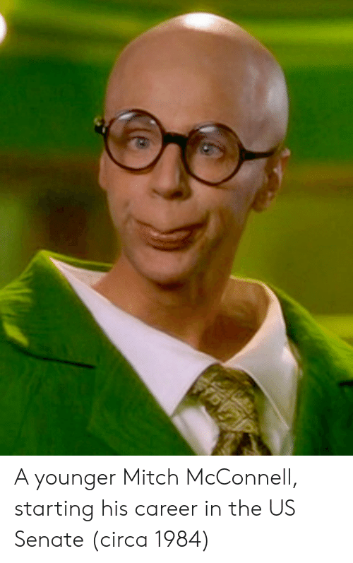 Mitch McConnell: A younger Mitch McConnell, starting his career in the US Senate (circa 1984)
