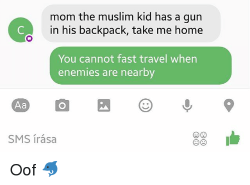 Memes, Muslim, and Home: Aa  mom the muslim kid has a gun  in his backpack, take me home  You cannot fast travel when  enemies are nearby Oof 🐬
