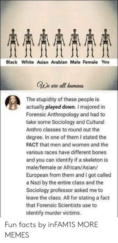 Stupidity: AAAA  Black White Asian Arabian Male Female You  GWe are all humans  The stupidity of these people is  actually played down. I majored in  Forensic Anthropology and had to  take some Sociology and Cuitural  Anthro classes to round out the  degree. In one of them I stated the  FACT that men and women and the  various races have different bones  and you can identify if a skeleton is  male/female or African/Asian/  European from them and I got called  a Nazi by the entire class and the  Sociology professor asked me to  leave the class. All for stating a fact  that Forensic Scientists use to  identify murder victims Fun facts by inFAM1S MORE MEMES