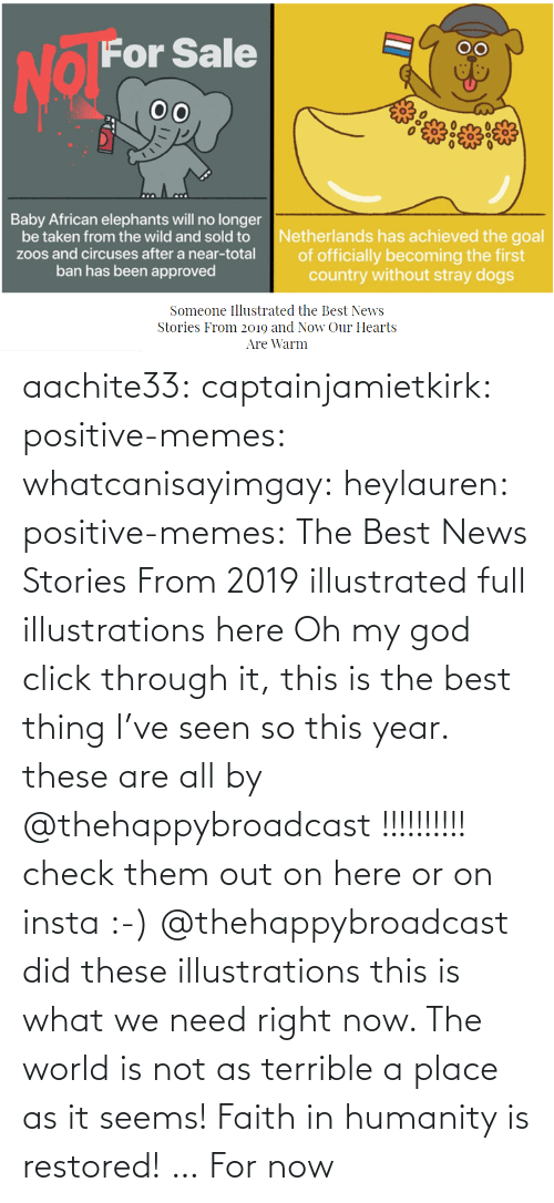 News: aachite33: captainjamietkirk:   positive-memes:  whatcanisayimgay:   heylauren:  positive-memes:    The Best News Stories From 2019 illustrated full illustrations here  Oh my god click through it, this is the best thing I've seen so this year.  these are all by @thehappybroadcast !!!!!!!!!! check them out on here or on insta :-)     @thehappybroadcast did these illustrations  this is what we need right now. The world is not as terrible a place as it seems!    Faith in humanity is restored! … For now