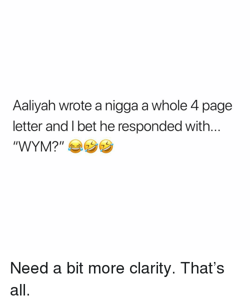 """Memes, Aaliyah, and 🤖: Aaliyah wrote a nigga a whole 4 page  letter and l bet he responded with  """"WYMP カウ Need a bit more clarity. That's all."""