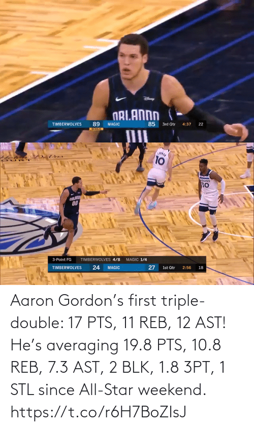 triple double: Aaron Gordon's first triple-double: 17 PTS, 11 REB, 12 AST!   He's averaging 19.8 PTS, 10.8 REB, 7.3 AST, 2 BLK, 1.8 3PT, 1 STL since All-Star weekend.   https://t.co/r6H7BoZIsJ
