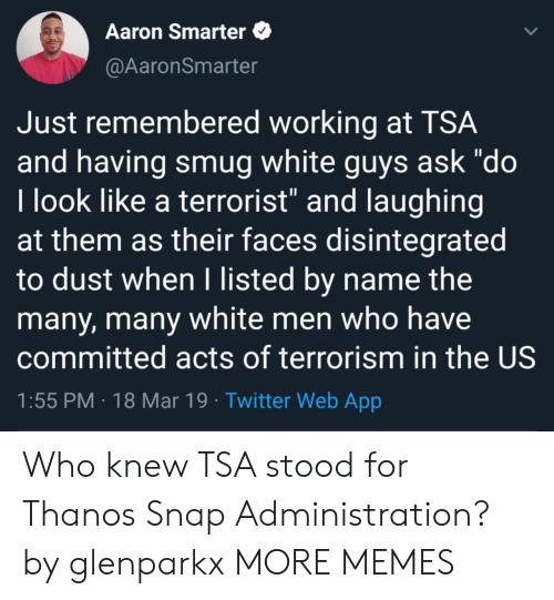 "smug: Aaron Smarter  @AaronSmarter  Just remembered working at TSA  and having smug white guys ask ""do  l look like a terrorist"" and laughing  at them as their faces disintegrated  to dust when I listed by name the  many, many white men who have  committed acts of terrorism in the US  1:55 PM 18 Mar 19 Twitter Web App Who knew TSA stood for Thanos Snap Administration? by glenparkx MORE MEMES"