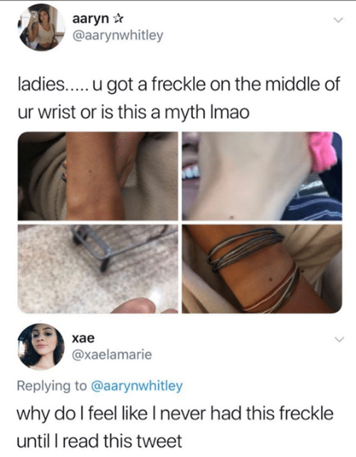 myth: aaryn *  @aarynwhitley  ladies.....u got a freckle on the middle of  ur wrist or is this a myth Imao  хае  @xaelamarie  Replying to @aarynwhitley  why do l feel like I never had this freckle  until I read this tweet