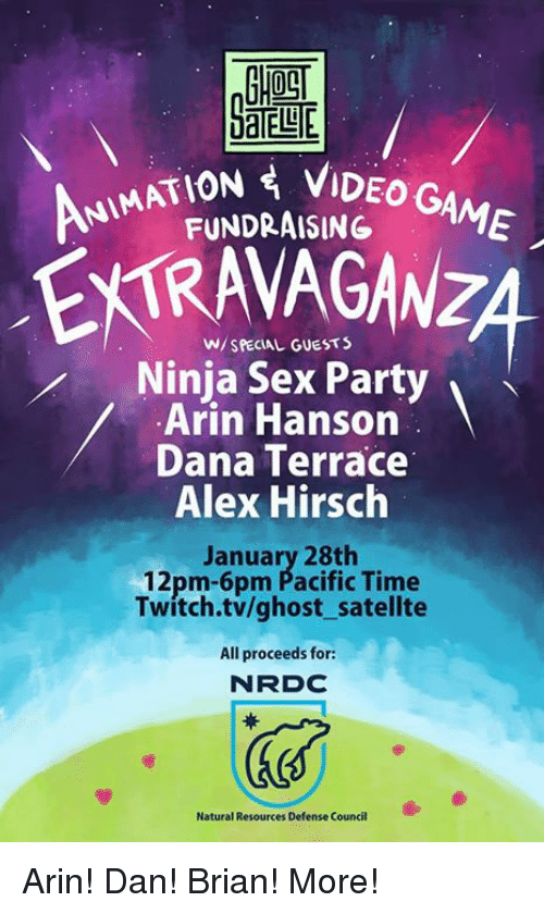 Pacific Time: AATION VIDEO G  FUNDRAISING  AME  W/ SPECIAL GUESTS  Ninja Sex Party  Arin Hanson  Dana Terrace  Alex Hirsch  January 28th  12pm-6pm Pacific Time  Twitch.tv/ghost satellte  All proceeds for:  N RDC  Natural Resources Defense Council Arin! Dan! Brian! More!