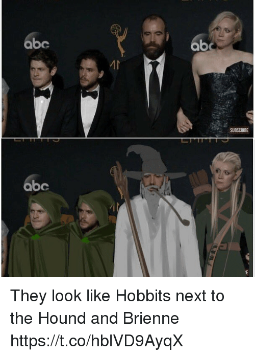 The Hound: abc  ab  SUBSCRIBE  abe They look like Hobbits next to the Hound and Brienne https://t.co/hblVD9AyqX