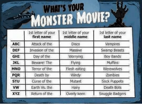 Abc, Memes, and Monster: ABC  DEF  GHI  JKL  MNO  PQR  STU  VW  XYZ  WHAT'S YOUR  MONSTER MOVIE?  1st letter of your  1st letter of your 1st letter of your  middle name  last name  first name  Attack of the  Disco  Vampires  Invasion of the  Massive  Swamp Beasts  Day of the  Worrying  Boy Bands  Beware! The  Flying  Muffins  Flesh eating  Werewolves  Terror of the  Death by  Windy  Zombies  Curse of the  Mutant  Sock Puppets  Hairy  Earth Vs. the  Death Bots  Overly keen  Snuggle Badgers  Return of the