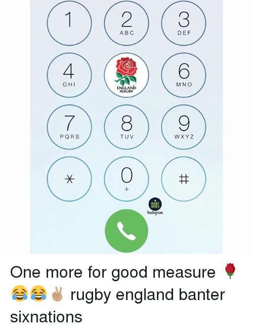 Abc, England, and Memes: ABC  DEF  GHI  M NO  ENGLAND  RUGBY  TUV  WXYZ  1  MEMES  Instagrant One more for good measure 🌹😂😂✌🏽 rugby england banter sixnations
